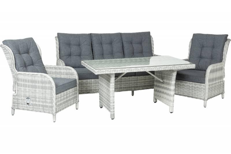 Amalie Sofagruppe 3+1+1 grå puter m/bord – Lys grå rund/halv run